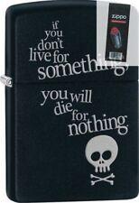 Zippo 29091 live for something-die for nothing black matte Lighter + FLINT PACK