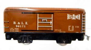 "1940 Marx 6"" tinplate medium Brown Bessemer Lake Erie 90171 B&LE boxcar 555 prew"