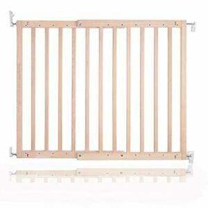 Chunky Natural Wood Wooden Screw Fit Stair Gate 63.5 to 105.5 cm