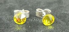 "Solid Sterling Silver and Swarovski Crystal 4.7mm stud earrings Citrine ""yellow"""