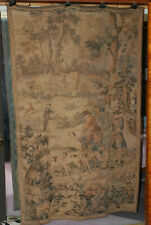 """19th century European tapestry 47 x 73"""", horses,dogs woods, ex condition"""