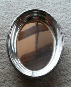 """Walker & Hall EPNS Oval Plater Antique 11"""" x 8"""" Beaded Trim -Early C1910-15 Mark"""