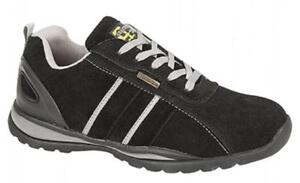 Grafters Mens Womens Ladies Suede Leather Lace-Up Work Safety Trainers Black New