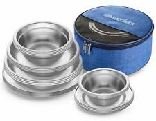 Stainless Steel Family Dinnerware Plates and Bowls Camping Tableware 24 Pcs Kit