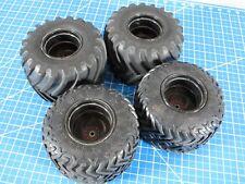 Used Tamiya 1/10 Super Clodbuster Bullhead TXT Juggernaut set of 4 Rims & Tires