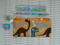 DINOSAUR BACK TO SCHOOL SENT PENCIL CASE & STATIONERY GIFT UNIQUE DOUBLE SIDED