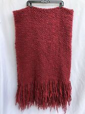 """Pottery Barn Cable Knit Cranberry Throw Fringed Size 80""""X 46"""""""