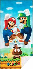 NEW Super Mario Brothers Mario Luigi 28in x 58in Cotton Beach Pool Bath Towel