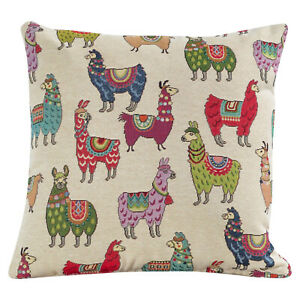 "Tapestry Llama Alpaca Cushion. Double Sided. 17x17"" Square. Red, green, blue."