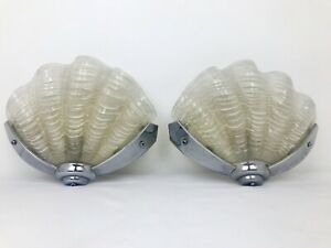 Beautiful Pair of Art Deco Odeon Glass Clam Shell Wall Lights White