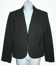 TAHARI Ladies Size 10 Charcoal Gray Polyester Single Snap Lined Blazer
