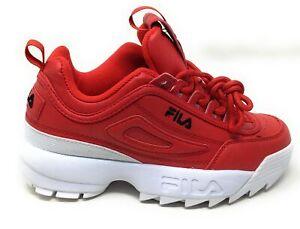 Fila Boys Disruptor II Premium Athletic Sneakers Red White Size 5.5 M
