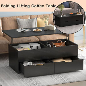 Coffee Table Hidden Lift Up Top Storage Drawer Wooden Desk  Foldable TV Stand UK