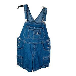 XHILARATION Bib Overall Shorts Blue Jean Denim Womens Sz 20W Shortalls VTG