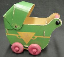 Vintage Baby Doll Buggy Pram Made of Heavy Paper with Wooden Wheels