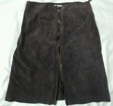 Brown genuine leather skirt  polyester lining zipper isaac mizrahi