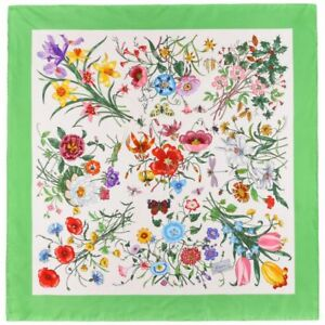 """GUCCI c.1970s Vittorio Accornero Iconic """"Flora"""" Print Silk Scarf"""