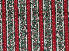 VTG NTT Christmas Floral Stripe Fabric Yuletide Berries & Bows 1 Yard