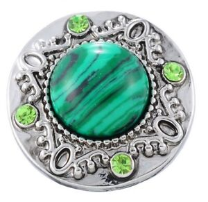 Silver Green Stone Rhinestone Scroll 20mm Snap Charm For Ginger Snaps