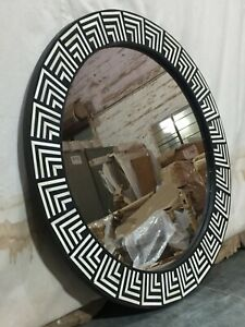 MADE TO ORDER Maaya Round Bone Inlay Indian HandMirror Frame - Orleans 75x5x75cm