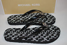 NIB MICHAEL KORS Size 6 Women's Black/White STACKED LOGO Printed Flip Flop
