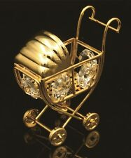 SWAROVSKI CRYSTAL ELEMENT STUDDED BABY CRIB FIGURINE/ORNAMENT 24K GOLD PLATED