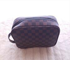 New Rita Messi Brown Makeup Cosmetic Overnight Travel Checkered Bag