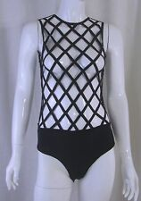 Gothic Glam Punk Witchy Occult MISSGUIDED Black Bandage Caged Bodysuit Sz 4