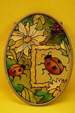 """JOAN BAKER LADY BUG & FLORAL SUN CATCHER-3 1/2 x 4 1/2""""-Chain for Hanging-Label"""