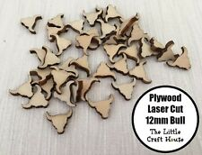 10PC 12mm Wooden Laser Cut Bull Longhorn Shape Ply Blank Craft Wood Flatback DIY