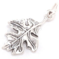 3D OAK LEAF Tree Acorn 925 Sterling Silver Jewelry Fall autumn Pendant Charm