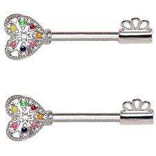 Barbells 14g 9/16 (Sold in Pairs) Ornate Rainbow Key Nipple Piercing Rings