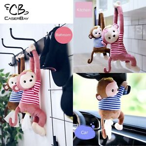 Cute Monkey Cartoon Animals Tissue Holder Hanging Pouch For Car Home, Pink/ Blue