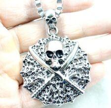46*46MM Fashion Retro ANTIQUE SILVER Charm pirate skul Pendant & necklace AA_101