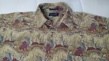 Ducks Unlimited LARGE Button Up Dress Shirt Hunting dog & Waterfowl ducks print