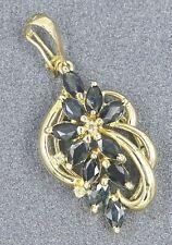 9ct Yellow Gold Australian Type Sapphire & Diamond Spiral Cluster Ladies Pendant