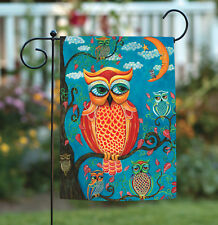 Toland Wise Guys 12.5 x 18 Colorful Owl Bird Branch Garden Flag