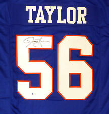 NEW YORK GIANTS LAWRENCE TAYLOR AUTOGRAPHED SIGNED BLUE JERSEY BECKETT 181095