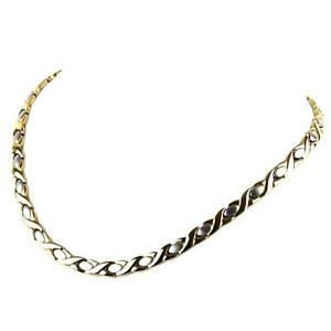 Ladies Stainless Steel Magnetic Gold & Chrome Necklace 31 Magnets Health