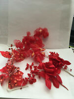 VINTAGE 7 ASSORTED RED MILLINERY PICKS CRAFTING HATS DOLLS NOS