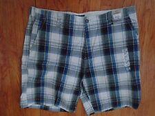 NWT PLUGG Jeans Co. Grey/Blue Plaid Cotton Twill Shorts Sz 42 (S-SHO-917)