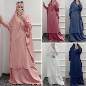 Muslim Women Abaya Jilbab Islamic Prayer Maxi Dress Set Long Hijab Arab Clothes
