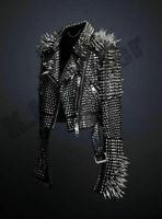 Men's Full Black Punk Silver Long Spiked Studded Brando Unique Leather Jacket