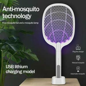 Mosquito Swatter USB Rechargeable Electric Flies Insect Bug Zapper Racket White