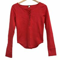 NWOT / WE FREE PEOPLE Jacqui Top Red Long Sleeve Lace Up Cotton XS Extra Small