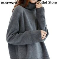 Women's Cardigan Lazy Turtleneck Sweater Loose Pullover Knitted Shirt Large Size