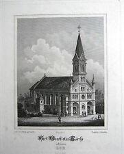 MÜNCHEN St. Benediktus-Kirche. Großer Stahlstich 1860. Blatt: 30cm x 40cm
