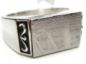 10/ T1/2 NATURAL RECTANGLE GIBEON METEORITE 925 STERLING SILVER RING