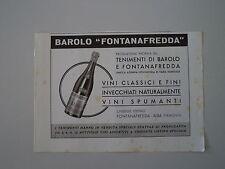 advertising Pubblicità 1941 BAROLO FONTANAFREDDA - ALBA PIEMONTE