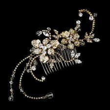 Gold Marquise Flower Rhinestone Austrian Crystal Wedding Bridal Hair Comb